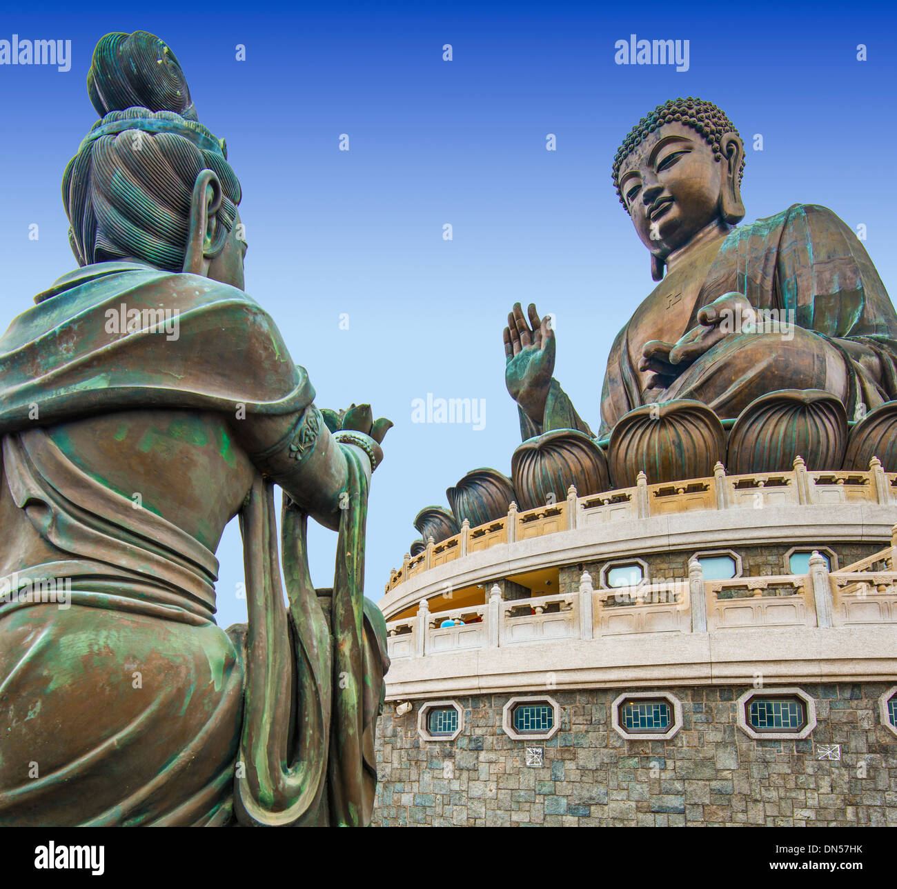 Grand Bouddha de l'île de Lantau à Hong Kong, Chine. Photo Stock