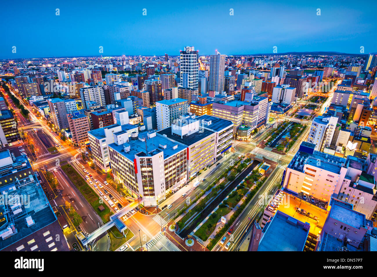 Sapporo, Japon paysage urbain dans le quartier central. Photo Stock