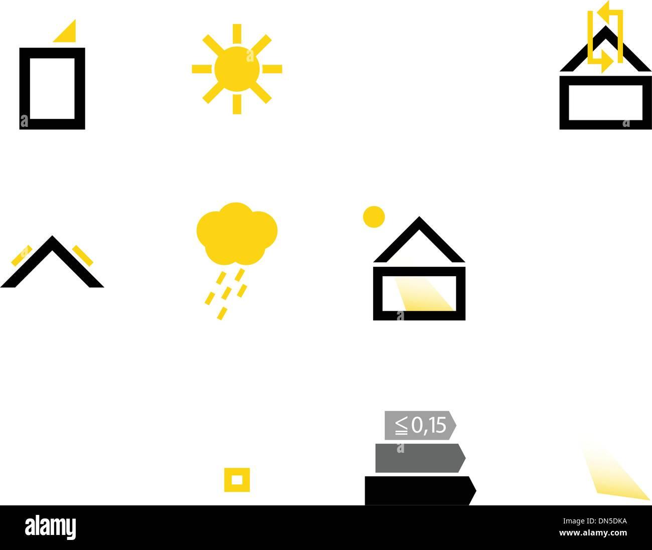 Les icônes de la maison passive isolé sur blanc ( noir et jaune ) Photo Stock