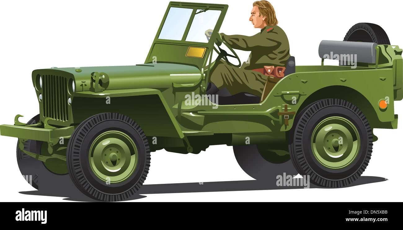La seconde guerre mondiale, deux jeep de l'armée. Photo Stock