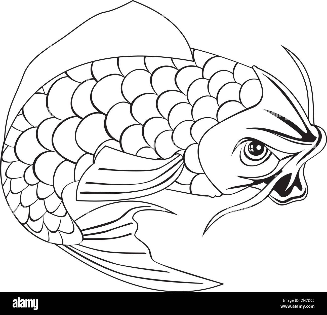 Carpe Koi Dessin carpe koï poisson sautant le dessin des lignes vecteurs et
