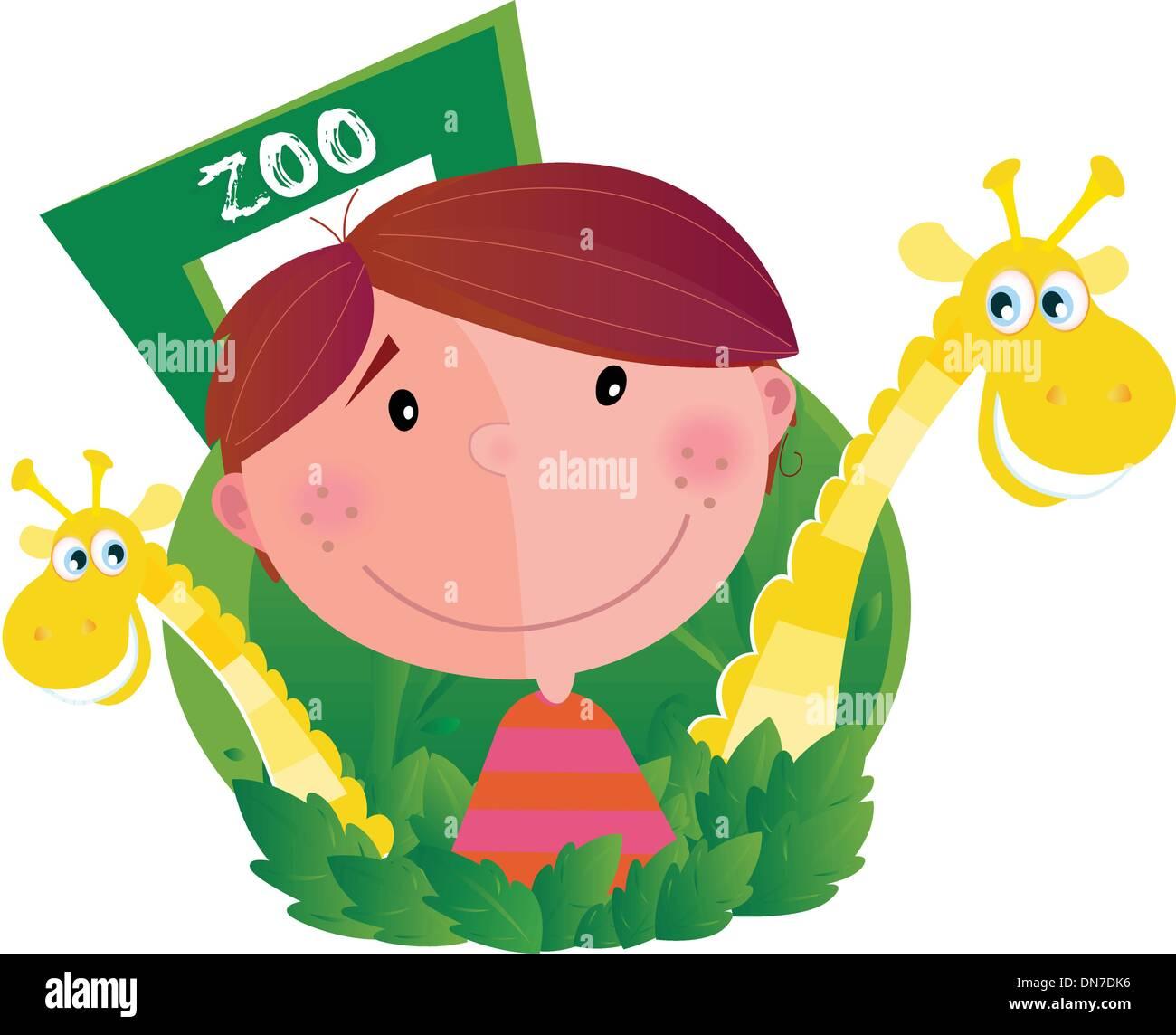 Petit garçon avec deux girafes au zoo Illustration de Vecteur