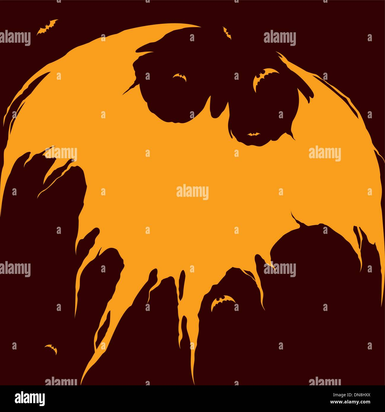 Les chauves-souris silhouette - Fond d'Halloween Photo Stock