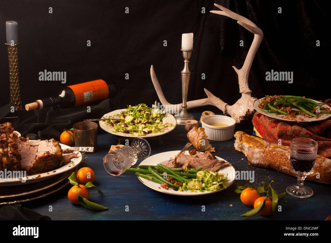 Rôti de porc après dîner mathématiques still life Photo Stock