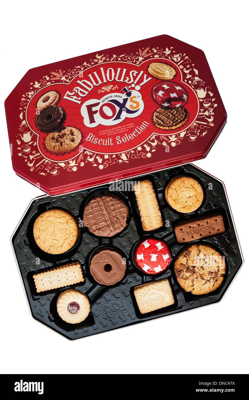 Une boîte de biscuits biscuits sélection du renard sur fond blanc Photo Stock
