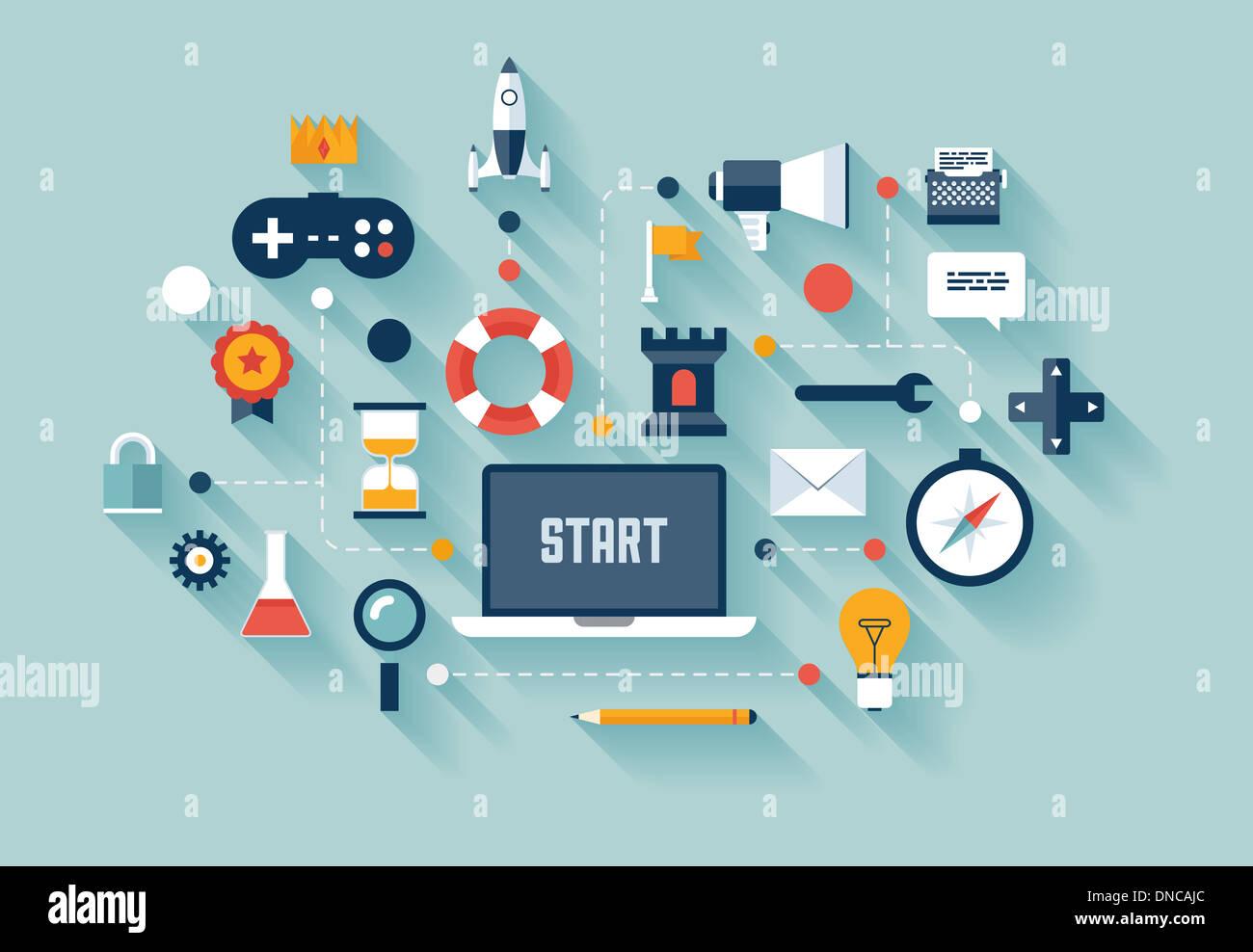 Modèle plat illustration concept de stratégie de gamification en affaires, nouvelle tendance en marketing des médias sociaux et de l'innovation la vie Photo Stock