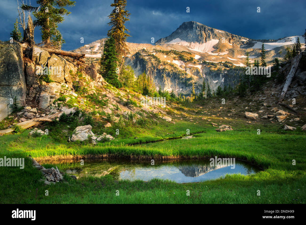 Petit étang reflétant les Eagle Mountain. Cap désert Eagle, New York Photo Stock