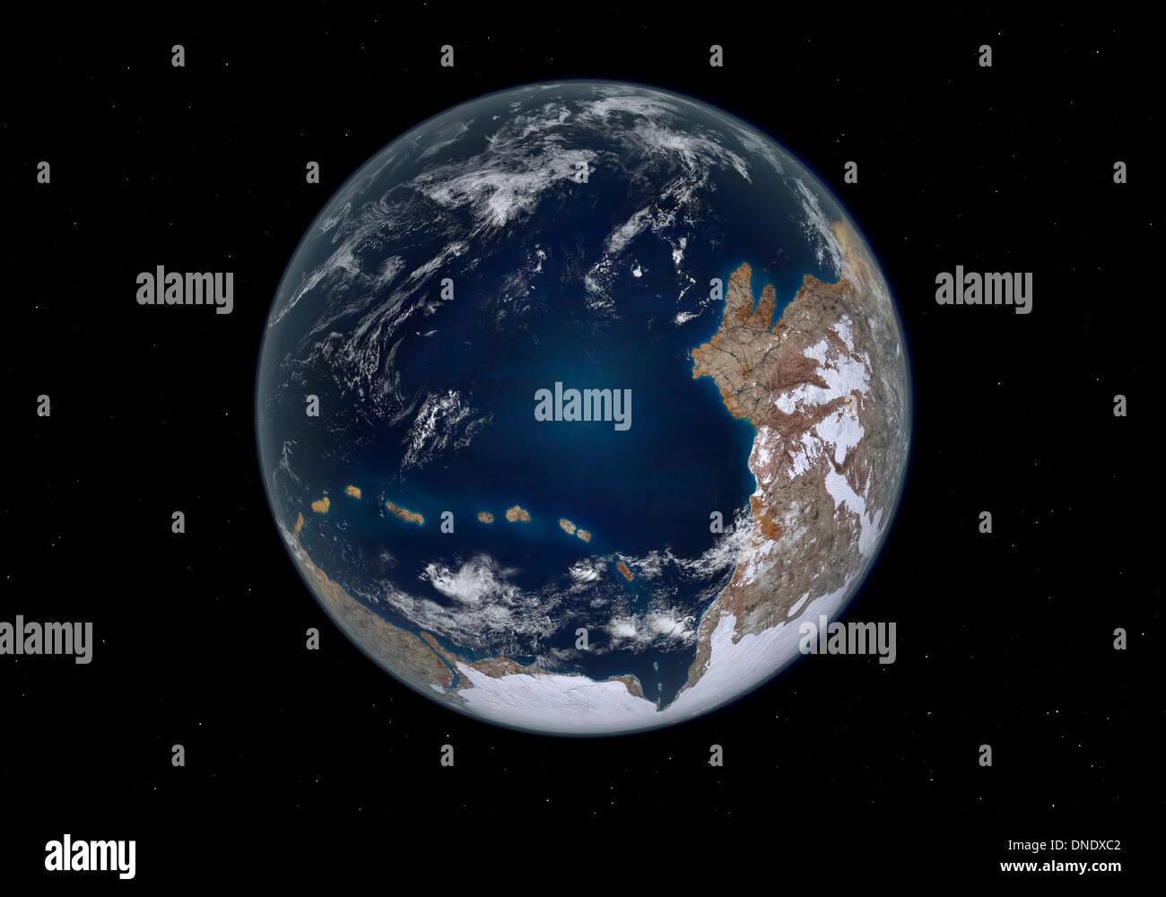 La planète Terre 600 millions d'années après la période de Cryogenian. Photo Stock
