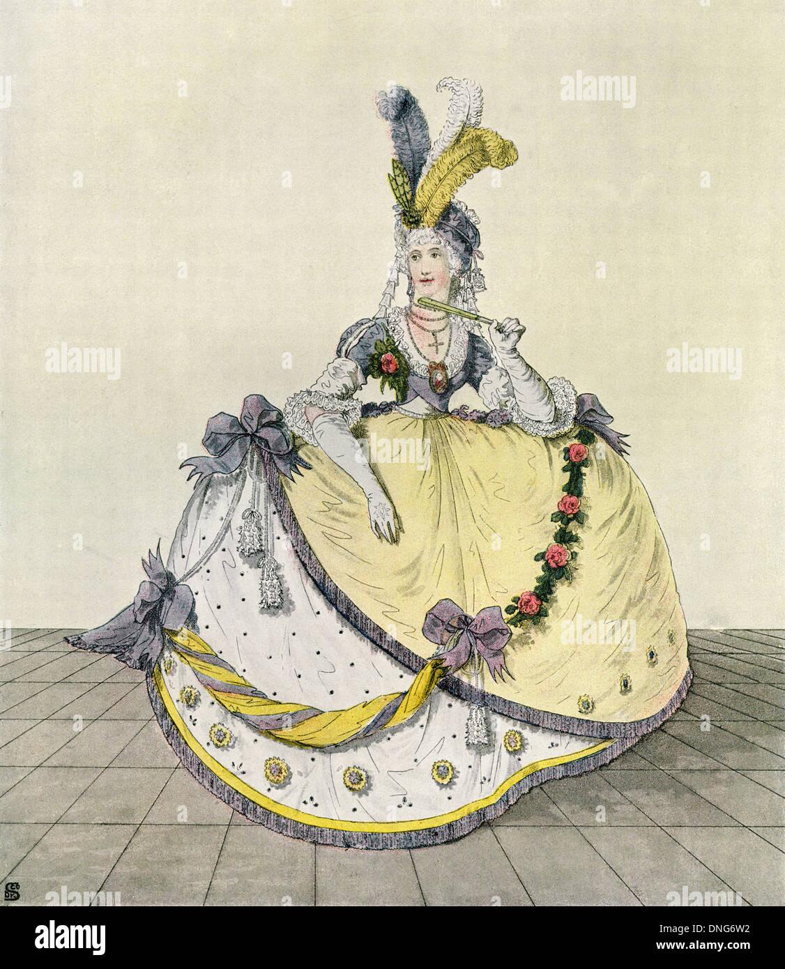 Dame dans une robe de bal à la cour anglaise, 1800. Photo Stock