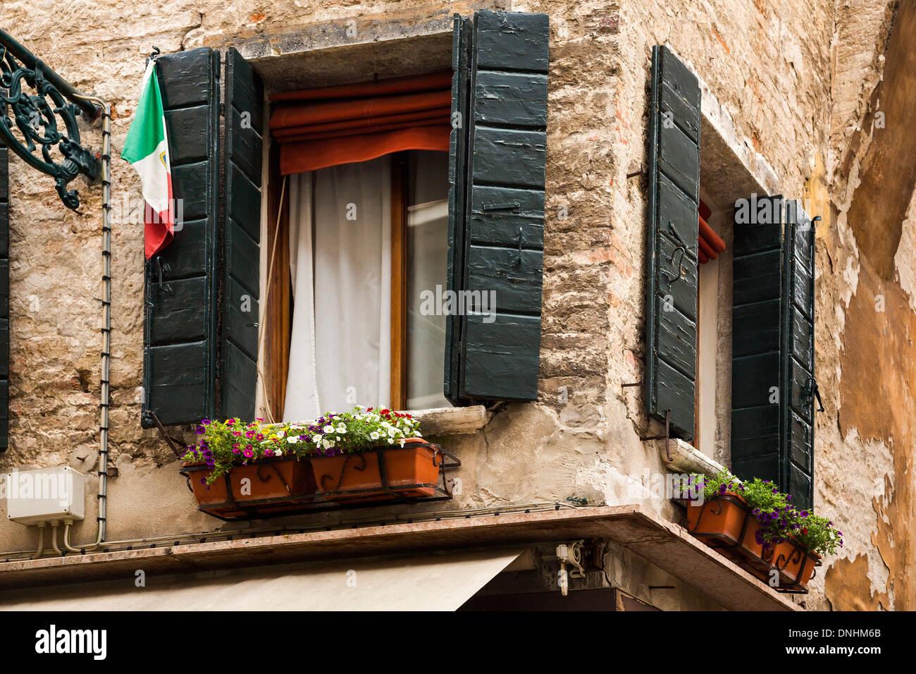Portrait d'une fenêtre de dialogue, Venise, Vénétie, Italie Banque D'Images