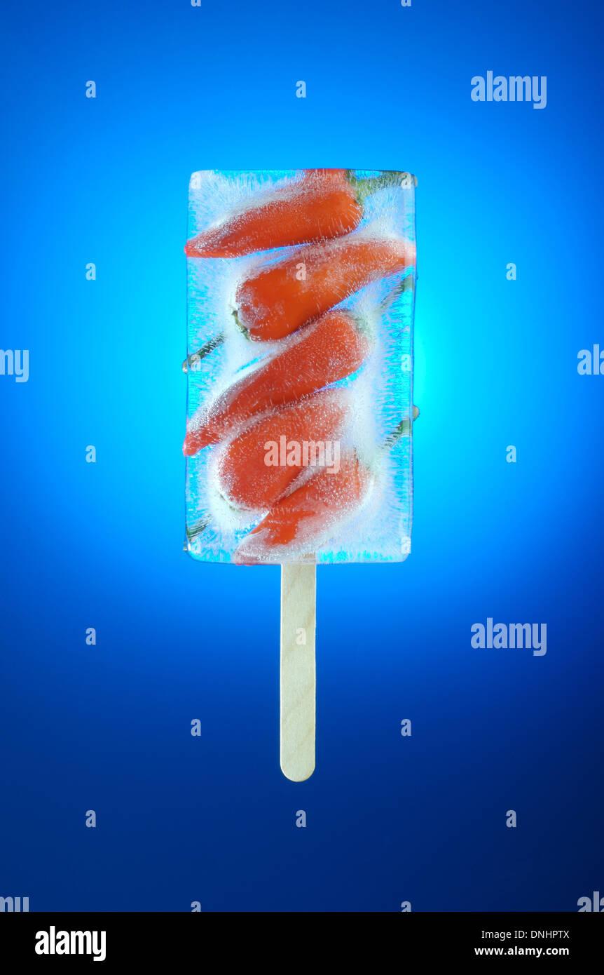 Une gelée de piment rouge glace. Photo Stock