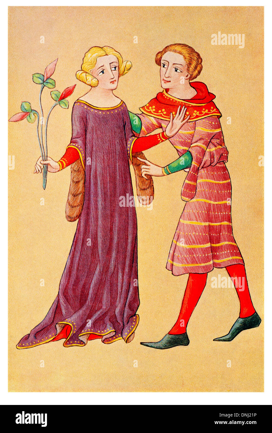 Dame anglaise et les jeunes qui s'adressent à la fin 14e siècle Photo Stock