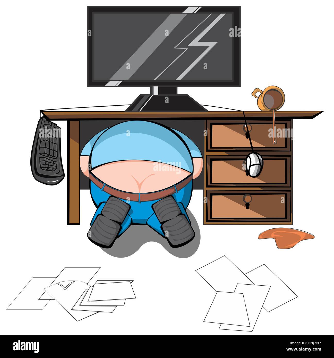 Représentation d'illustration d'un homme à la recherche sous la table Banque D'Images