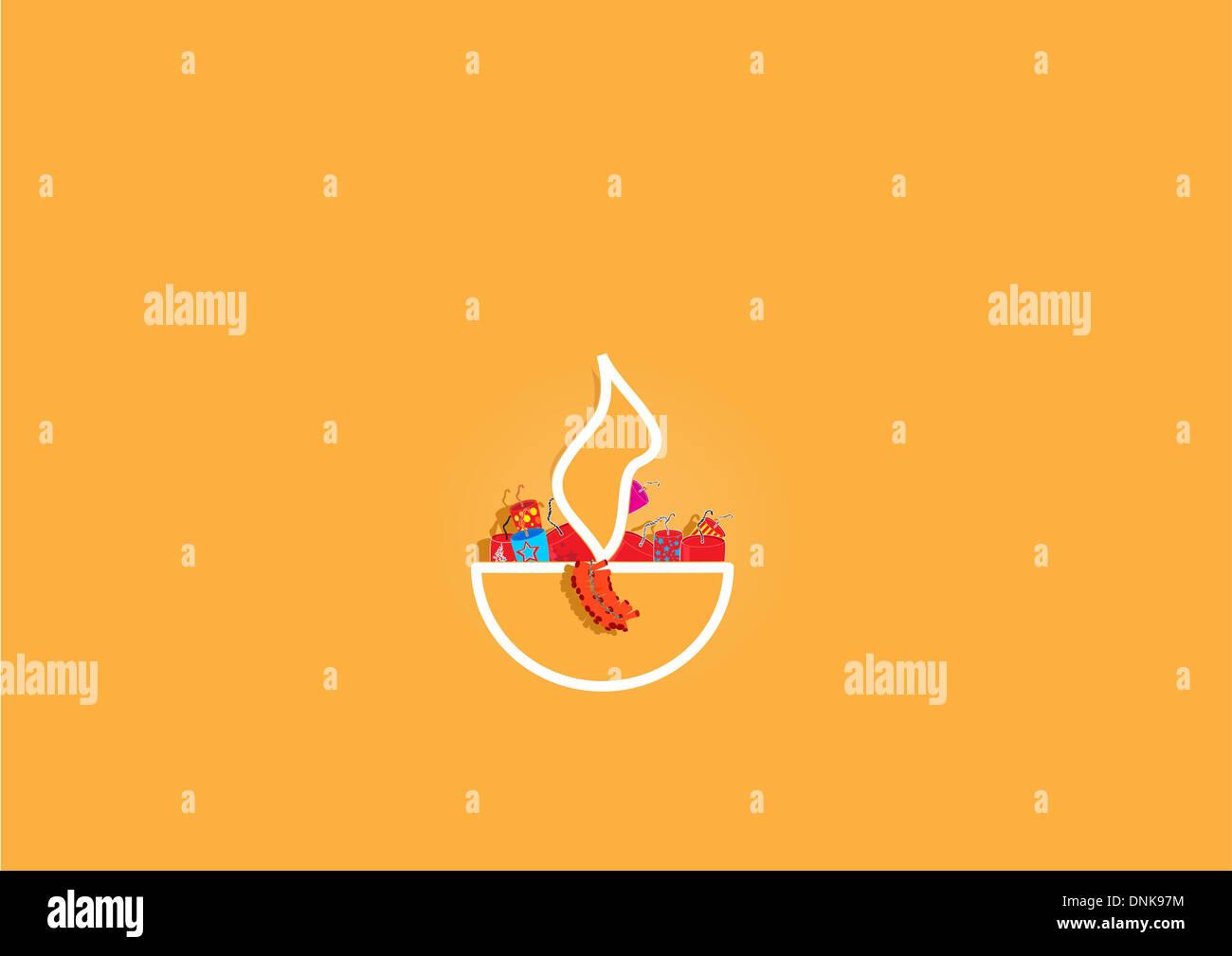 Diwali lampe à huile de pétards isolé sur fond orange Banque D'Images