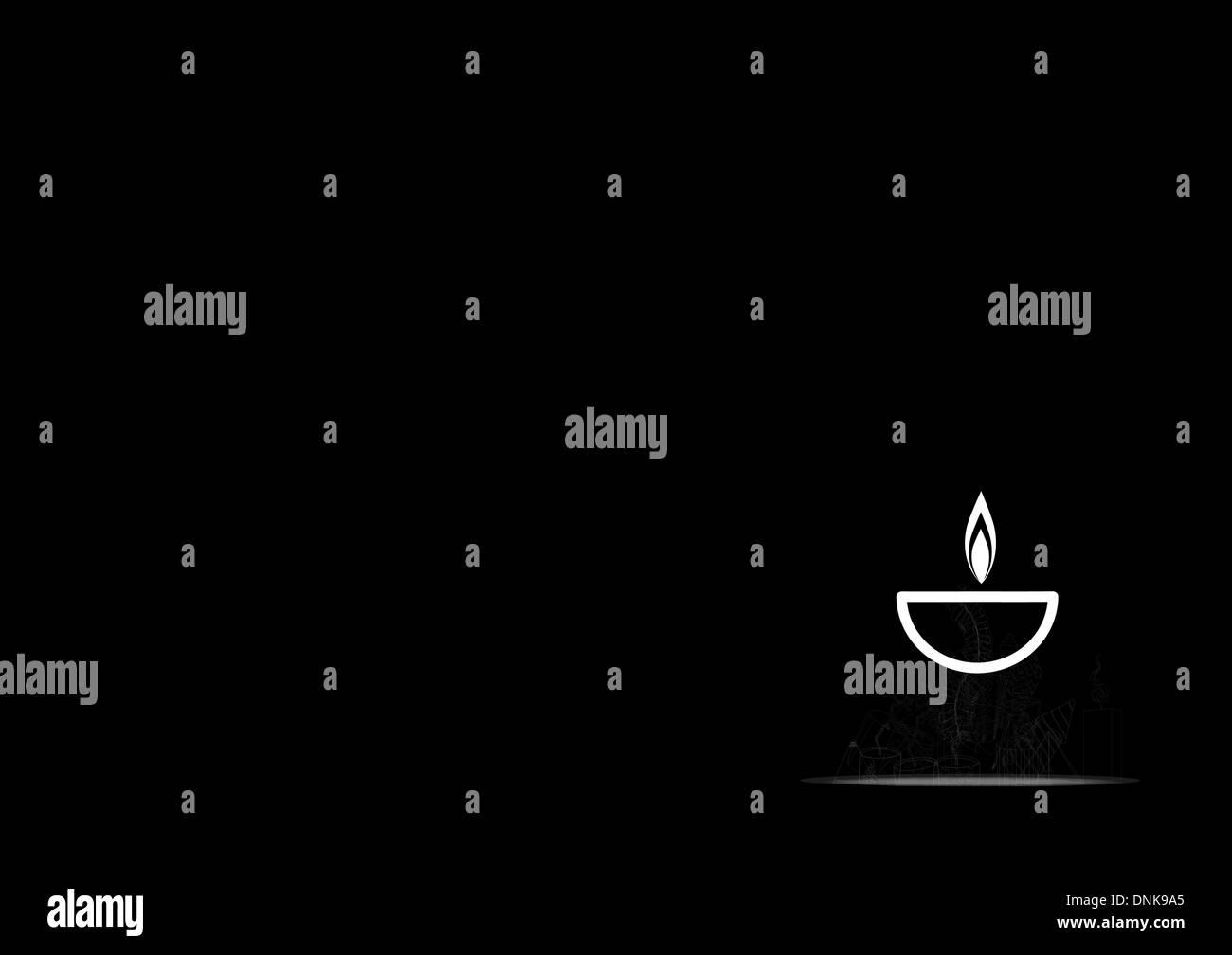 Lampe à huile Diwali isolé sur fond noir Banque D'Images