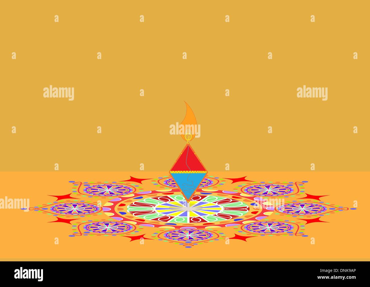Diwali pétard sur rangoli isolé sur fond orange Banque D'Images