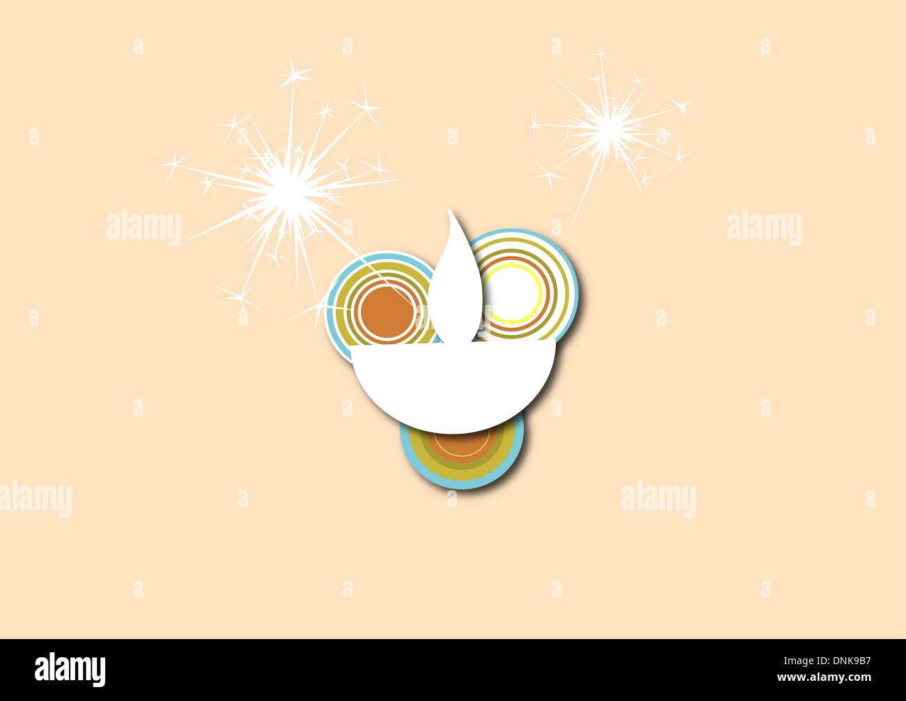 Diwali lampe à huile d'artifice isolé sur fond blanc Banque D'Images