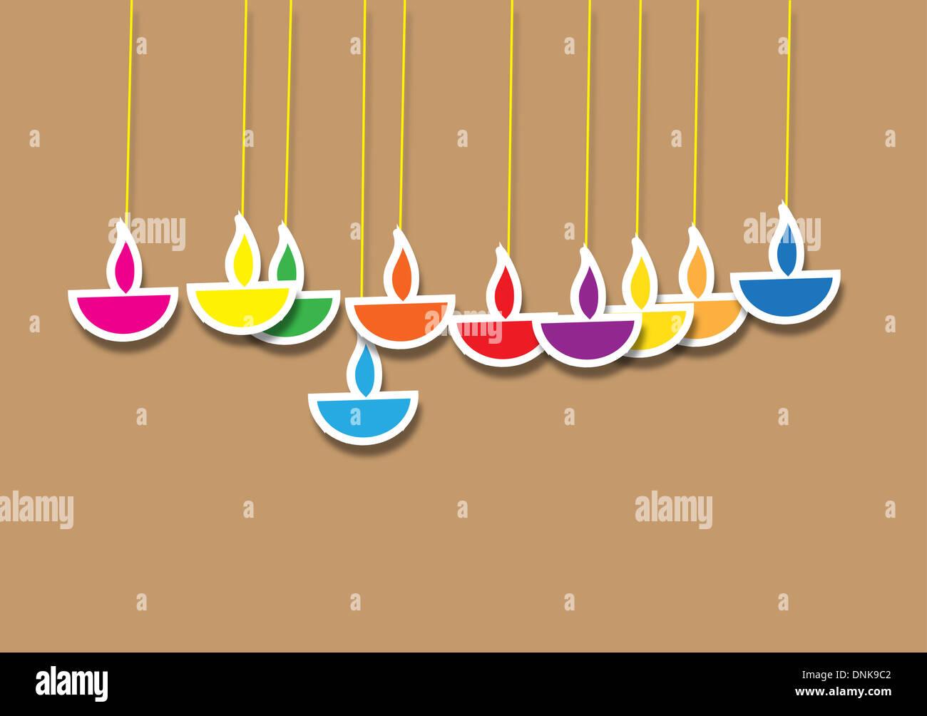 Diwali lampes à huile isolé sur fond coloré Banque D'Images