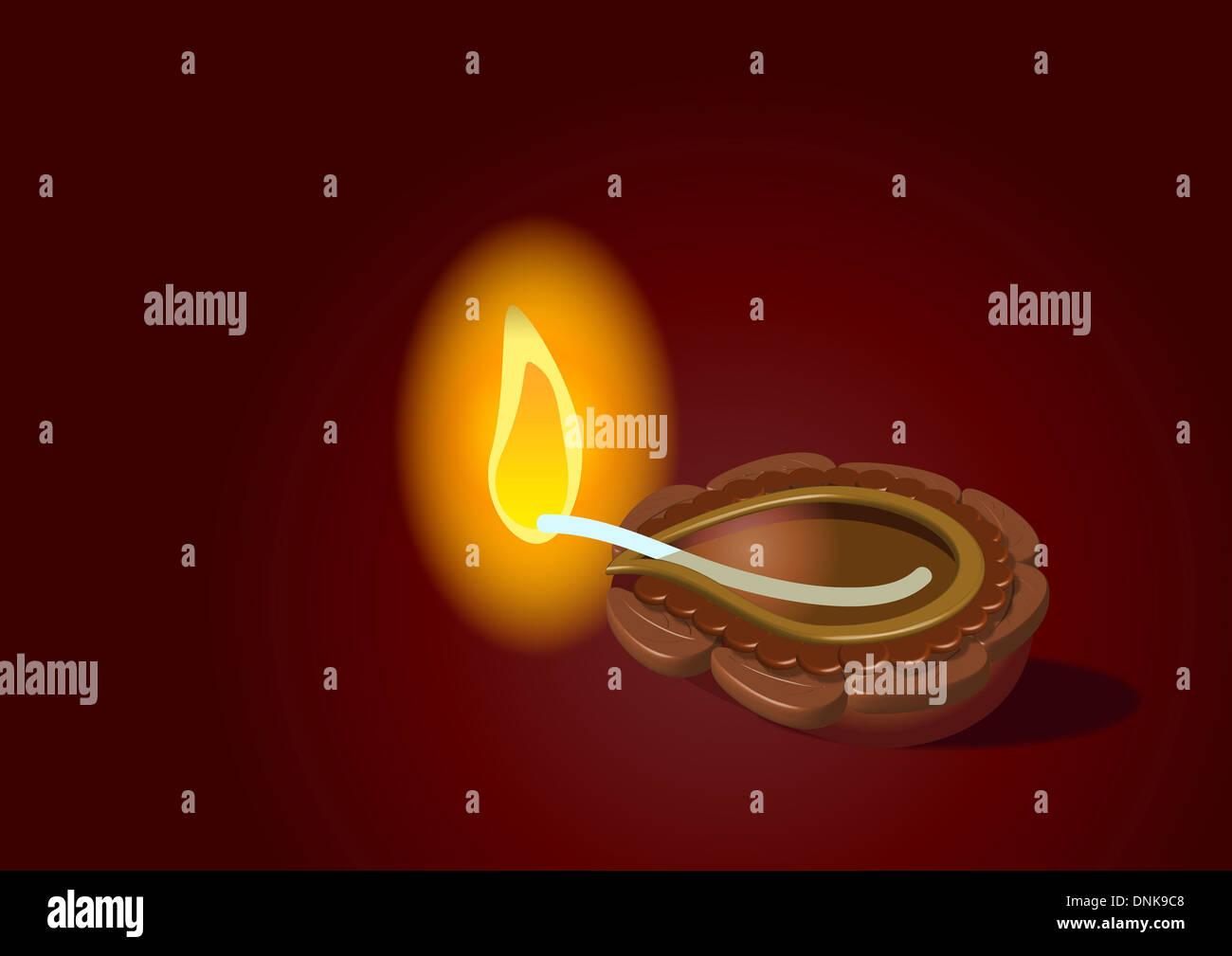Lampe à huile Diwali isolé sur fond de couleur rougeoyante Banque D'Images