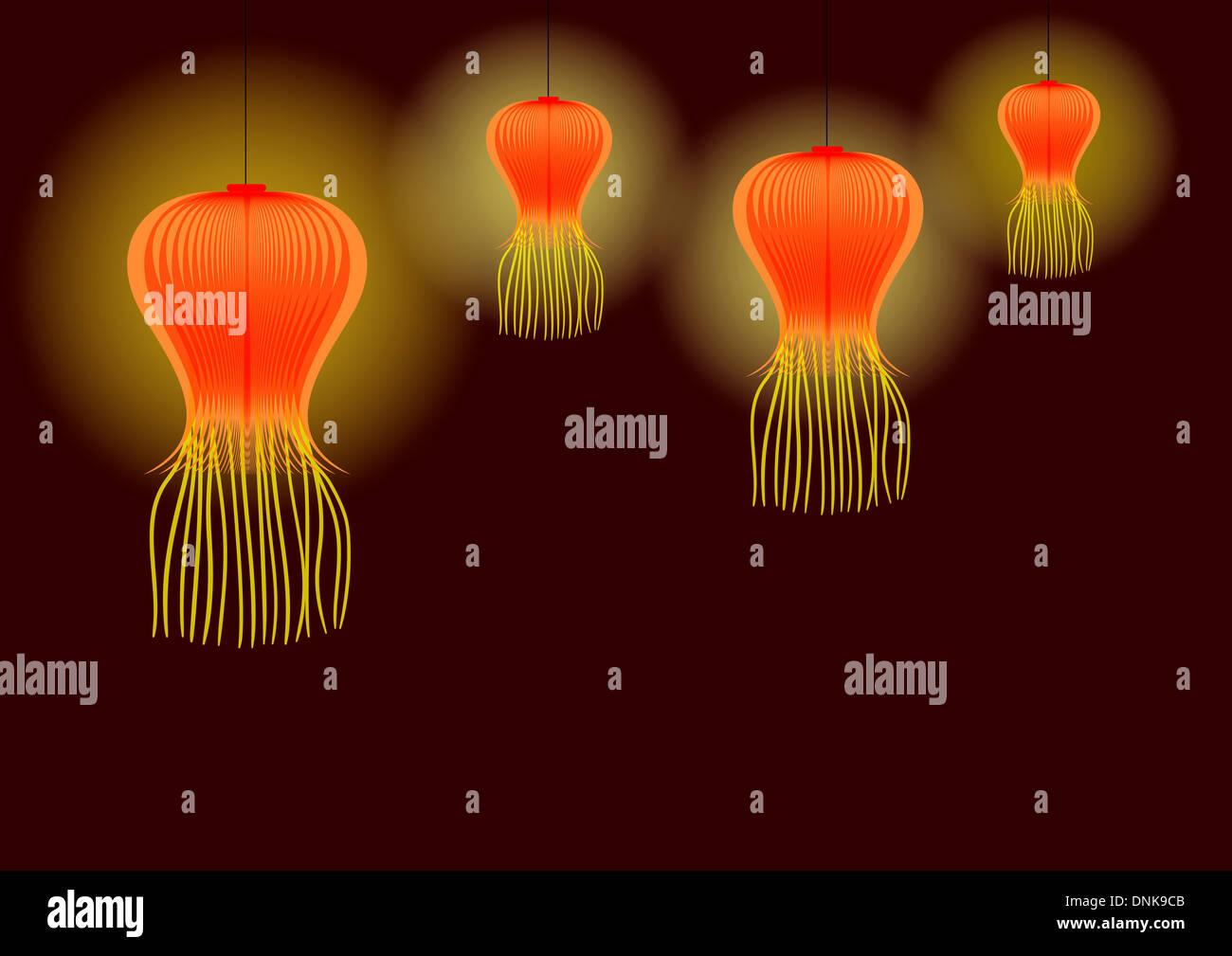 Diwali décoration avec des lanternes en papier isolé sur fond brun Banque D'Images