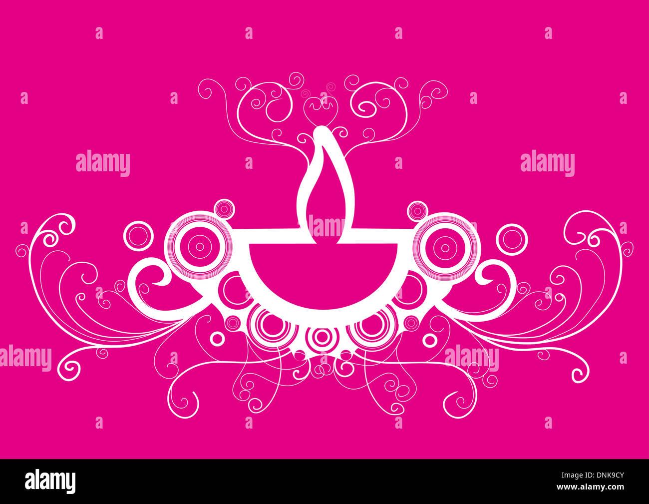 Lampe à huile Diwali isolé sur fond rose Banque D'Images