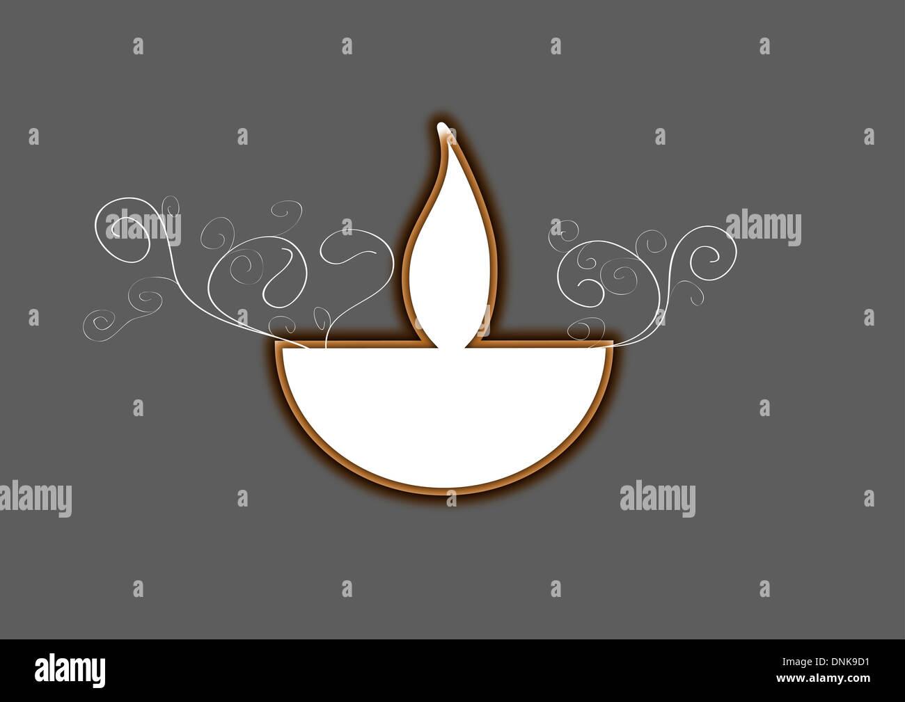 Lampe à huile Diwali isolé sur fond gris Banque D'Images