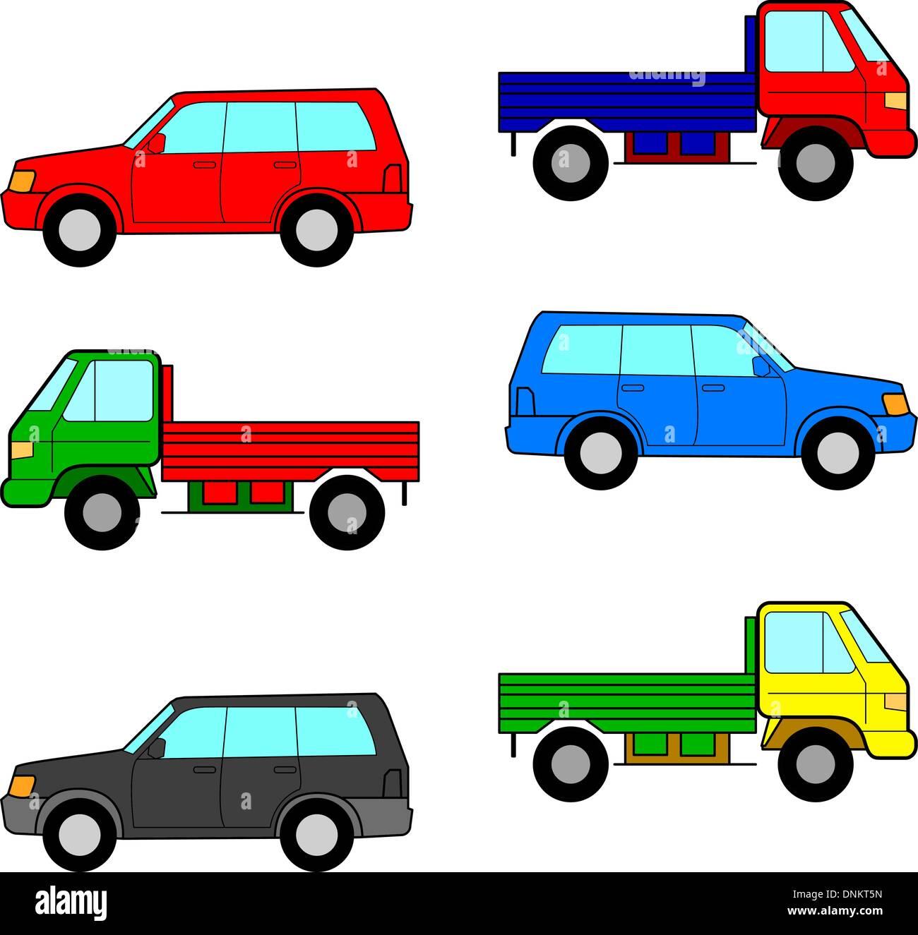 Définir les voitures, camions et voitures. Vector illustration. Photo Stock