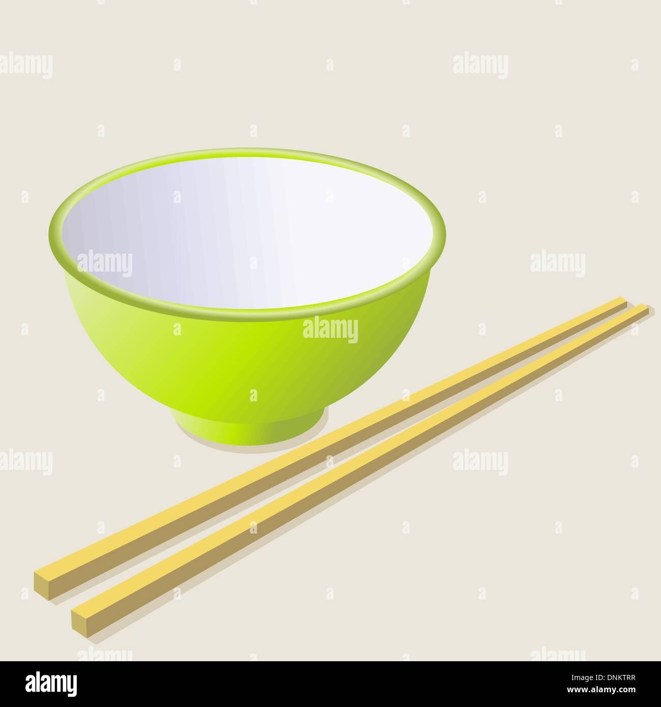 Tasse en céramique avec des bâtonnets de bois. Vector illustration. Photo Stock