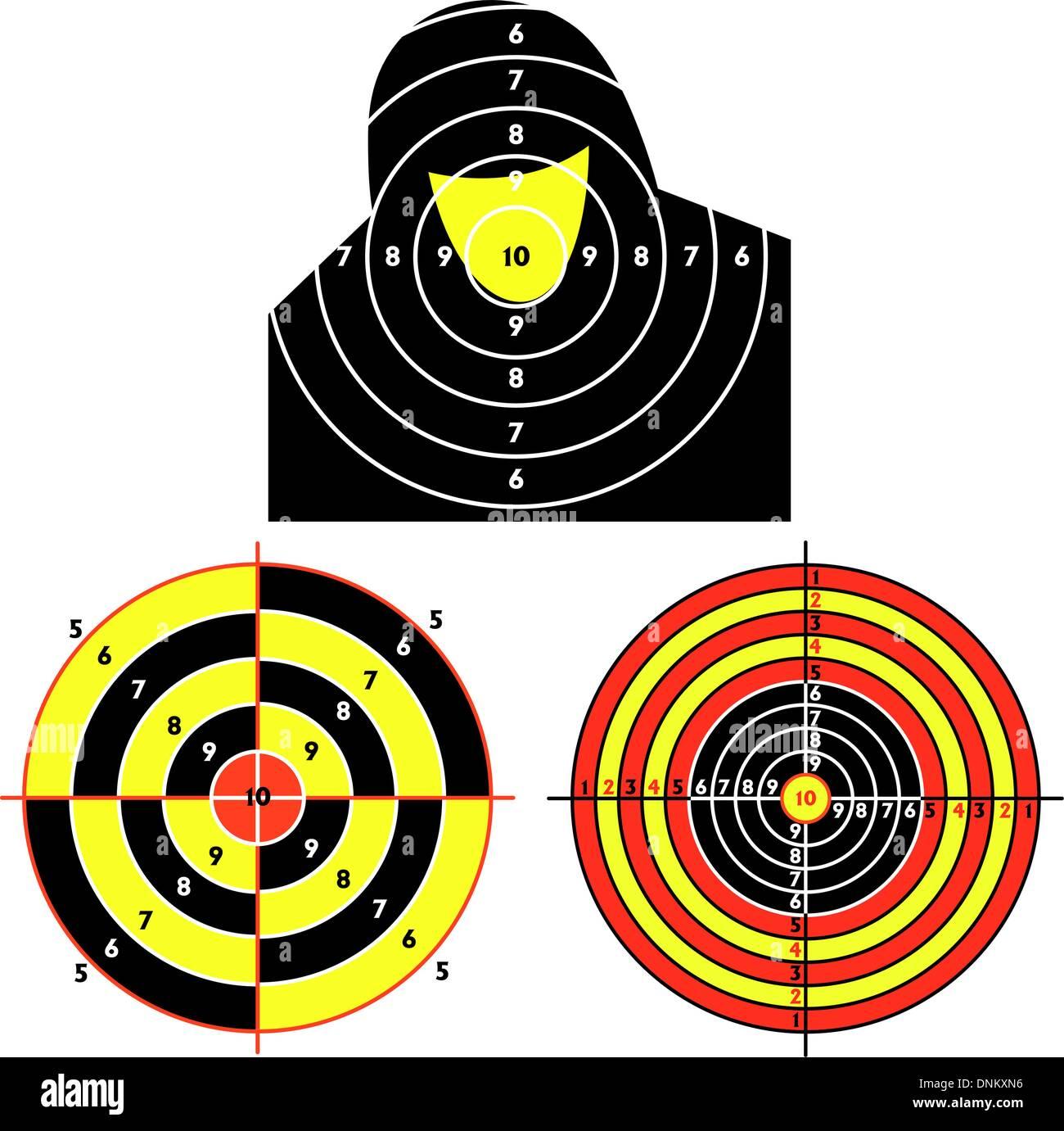 Établir des cibles pour le tir au pistolet pratique, l'exercice. Vector illustration Photo Stock