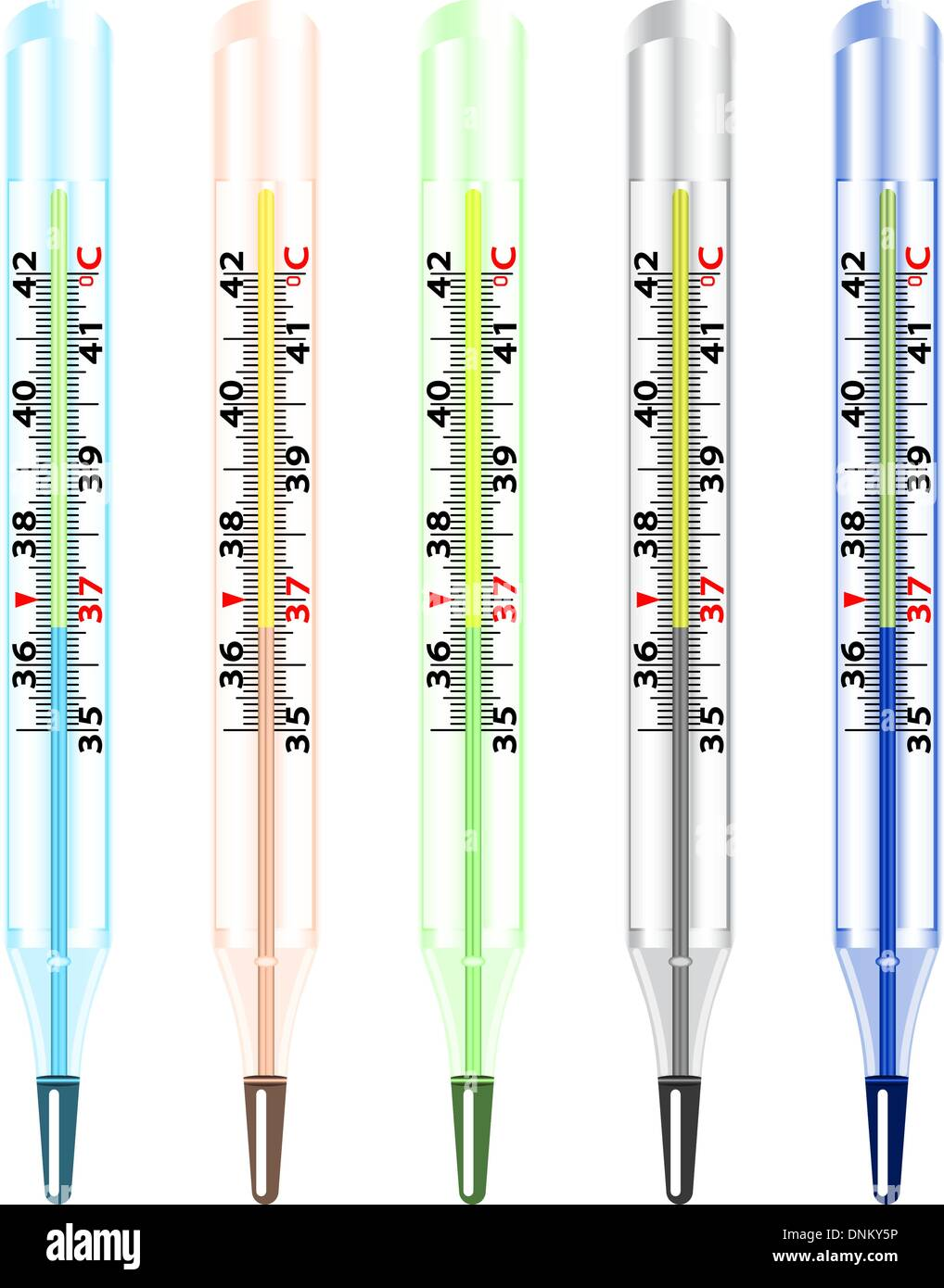 Thermomètre à mercure en verre médical sur fond blanc. Photo Stock