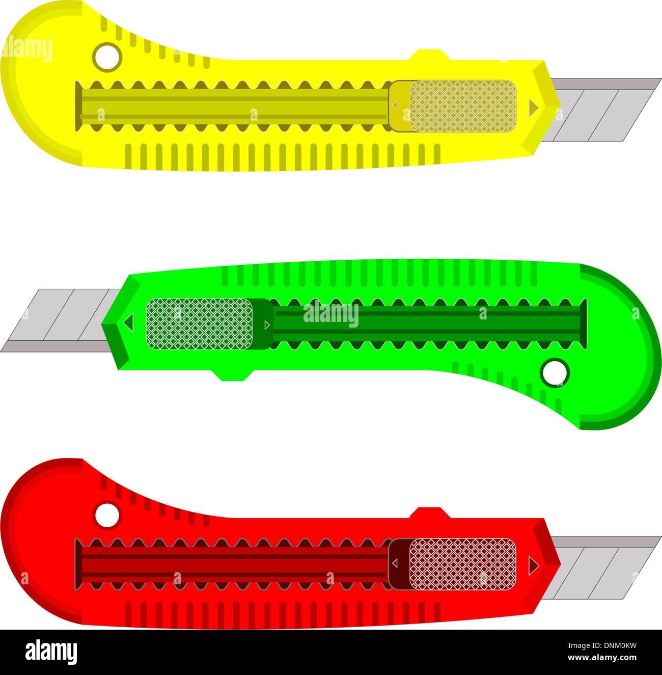 Les couteaux en plastique pour le papier sur un fond blanc. Photo Stock