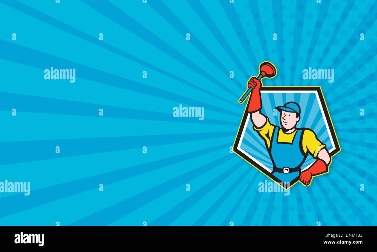 Illustration De Carte Visite Dun Plombier Super Plongeur Holding Dtenant Fait En Cartoon Style Situ Lintrieur La Forme Du Pentagone