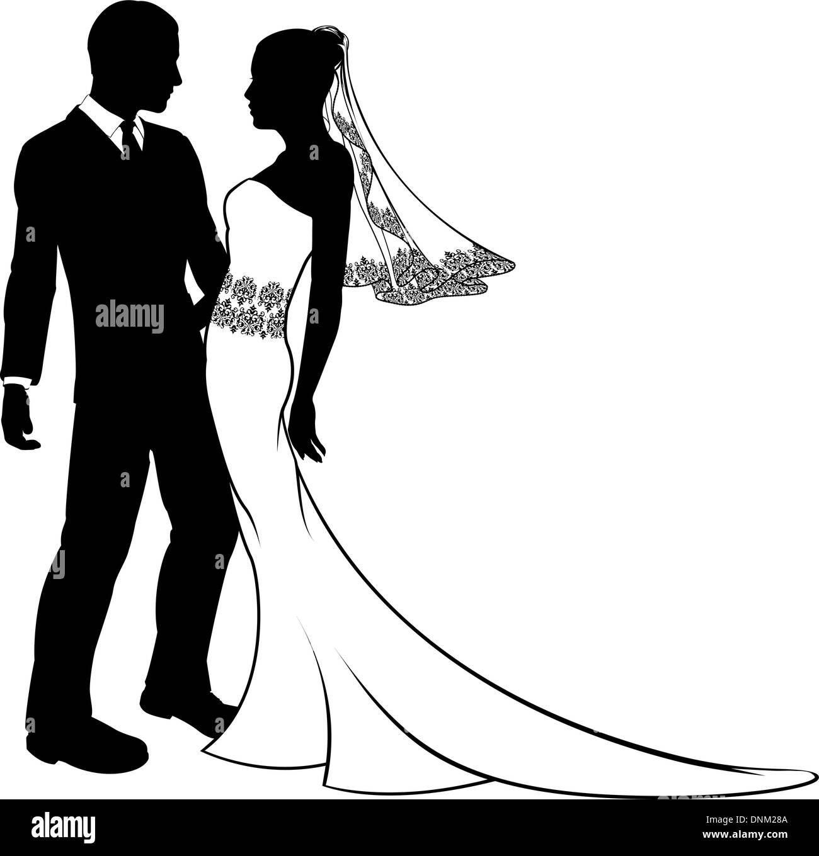 Faire Place Au Jeunes Maries A Leur Mariage Apres La Danse Ou Sur Le Point De Baiser Avec Une Belle Robe De Mariee Avec Voile Et De La Dentelle Image Vectorielle Stock