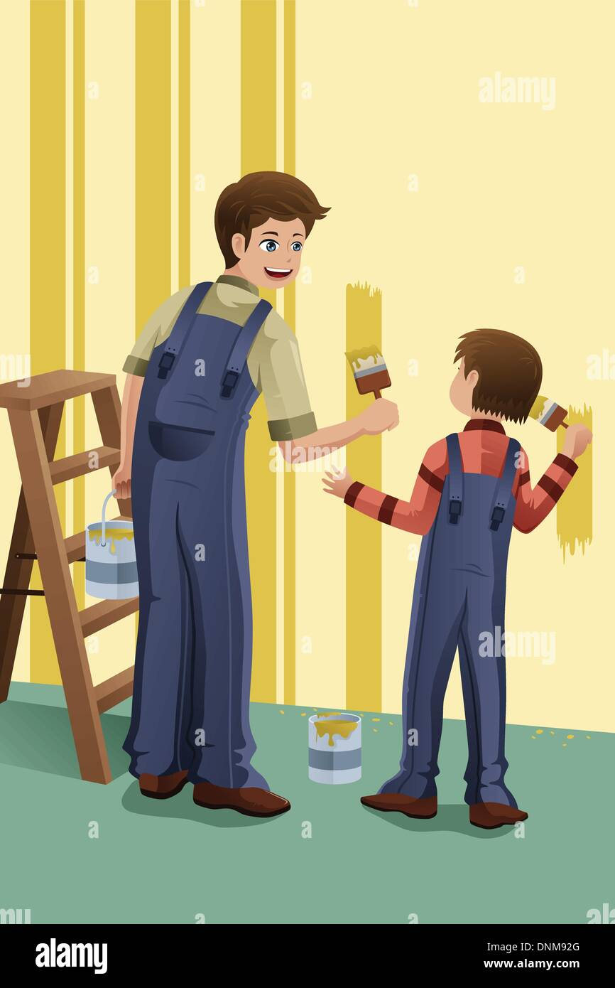 Un vecteur illustration de père et fils peindre un mur à la maison ensemble Illustration de Vecteur