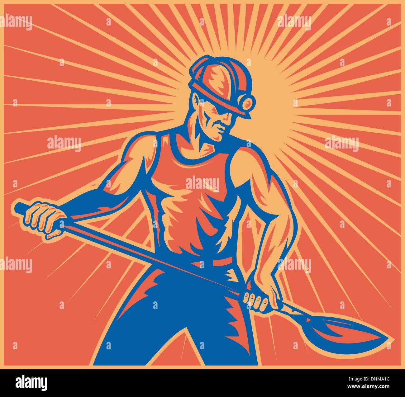 Illustration d'un travailleur mineur de charbon à l'œuvre avec la pelle bêche vue avant fait en rétro style gravure sur bois avec la solarisation en arrière-plan Photo Stock