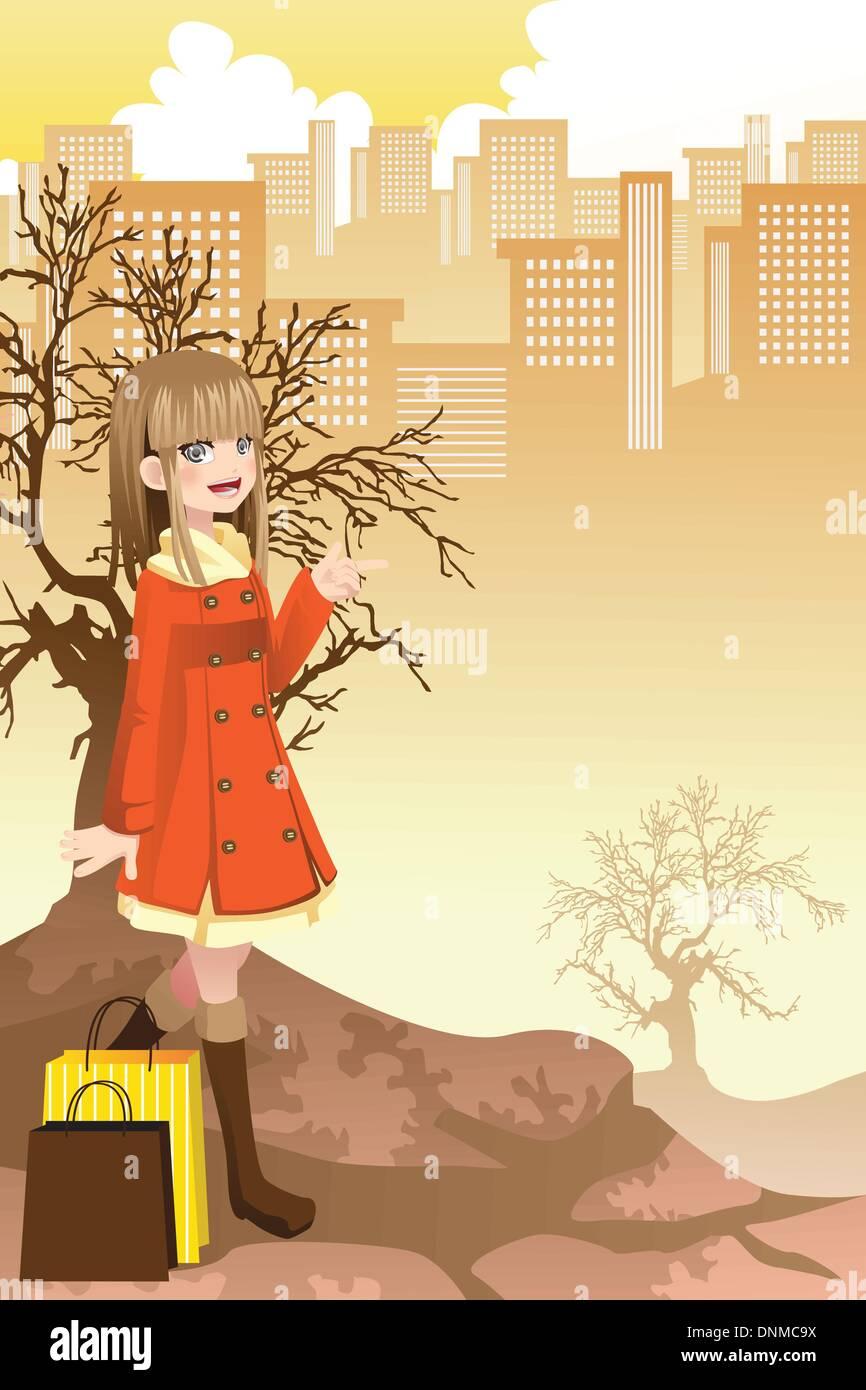 Un vecteur illustration d'une belle jeune fille shopping dans la ville Illustration de Vecteur