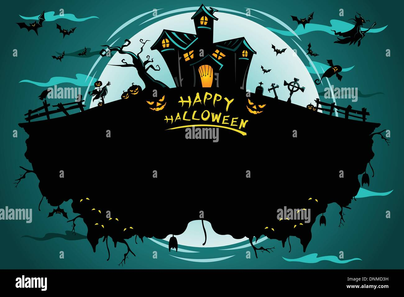 Un vecteur illustration de l'affiche de l'Halloween Photo Stock