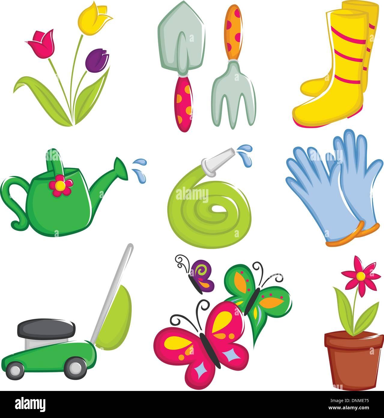 Un vecteur illustration de jardinage du printemps icons Photo Stock