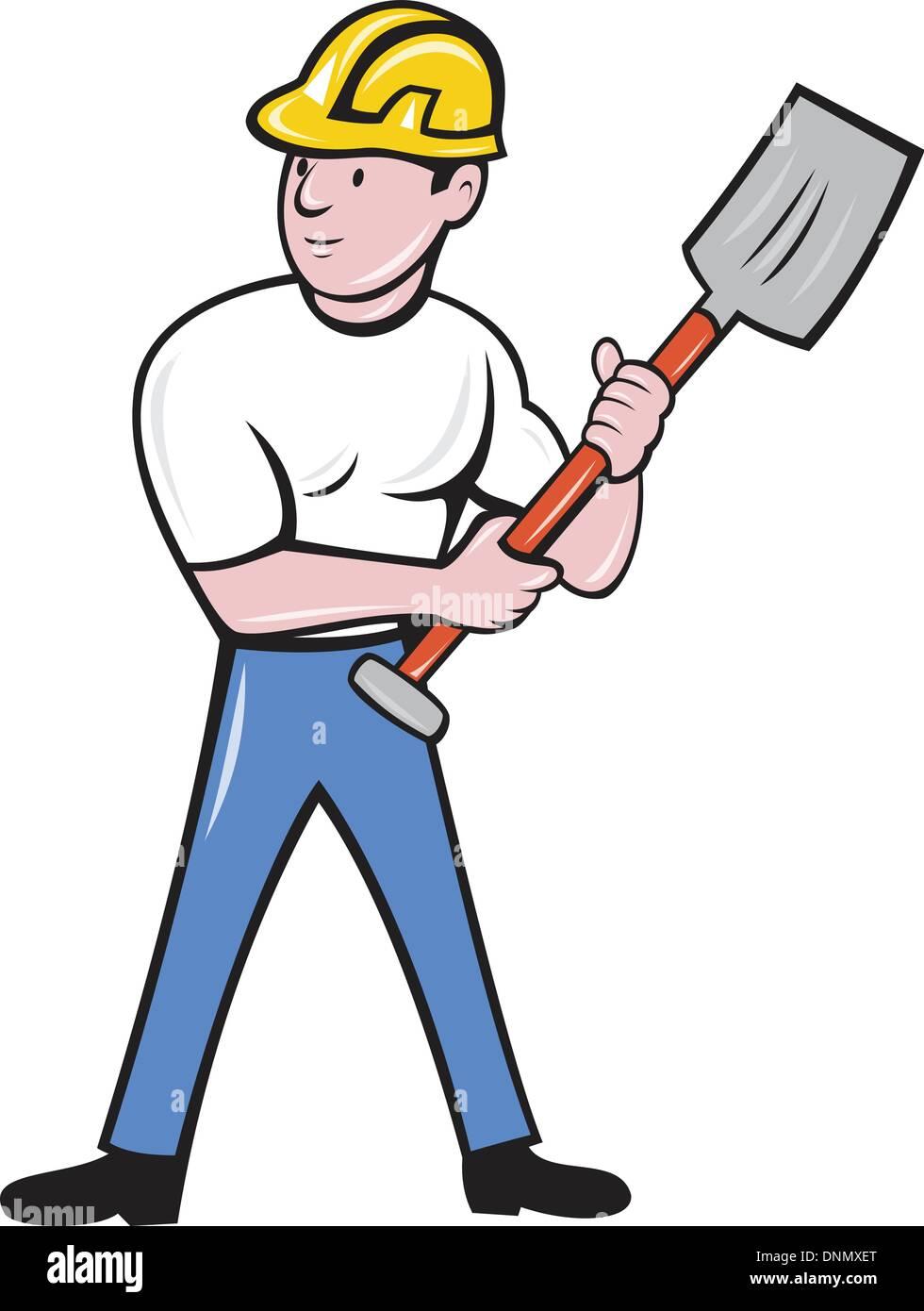 Illustration d'une construction worker wearing hard hat holding une pelle bêche avant permanent sur fond isolé fait en cartoon style Photo Stock