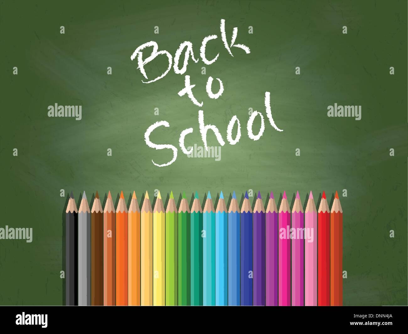 Retour à l'école contexte avec tableau noir et crayons de couleur Photo Stock