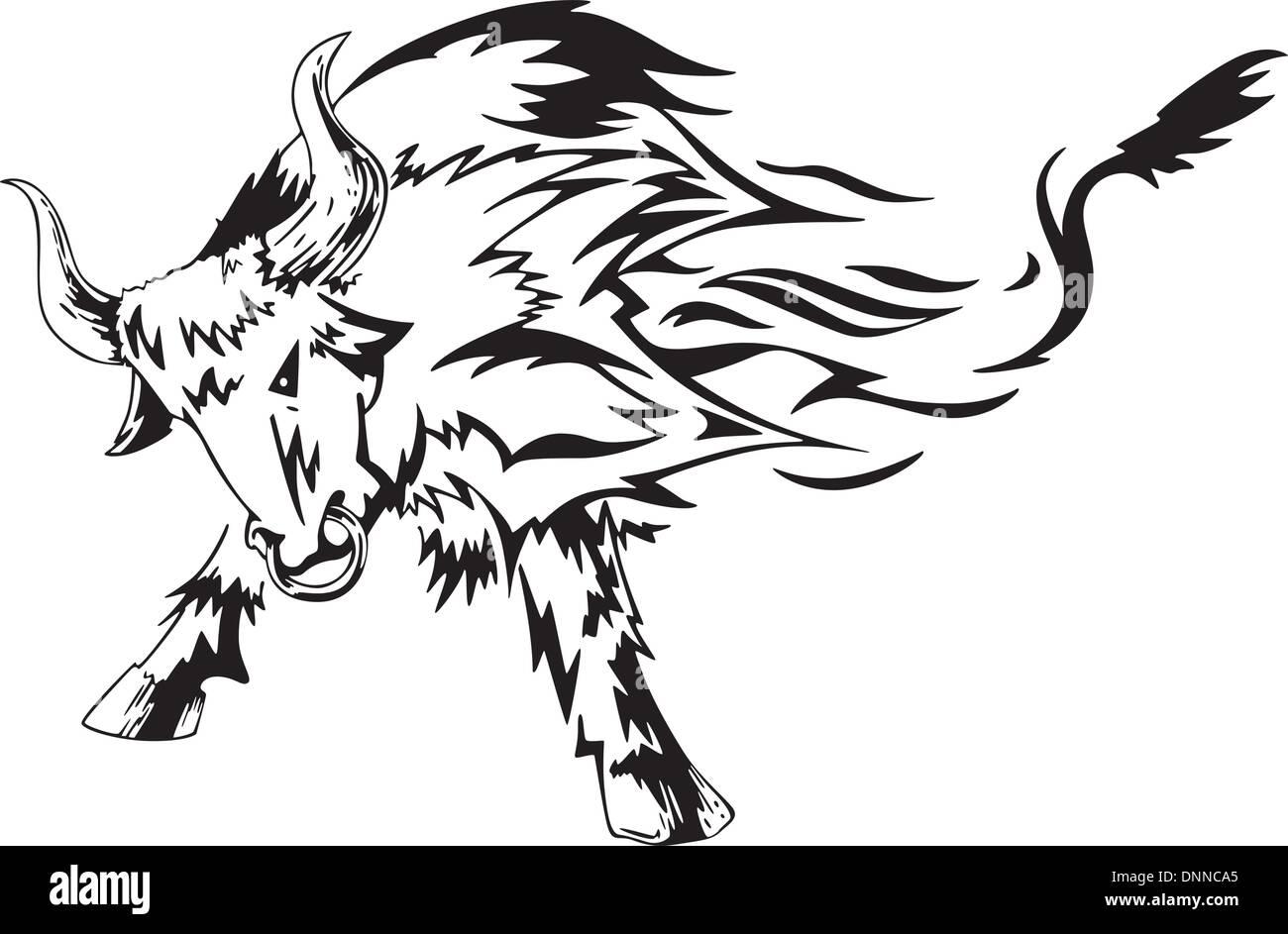 Bull Tatouage Tribal Noir Et Blanc Vector Illustration Vecteurs Et