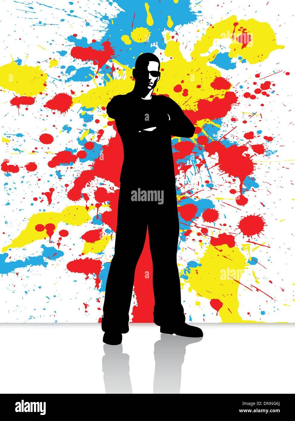 Silhouette d'un homme sur un grunge background Photo Stock