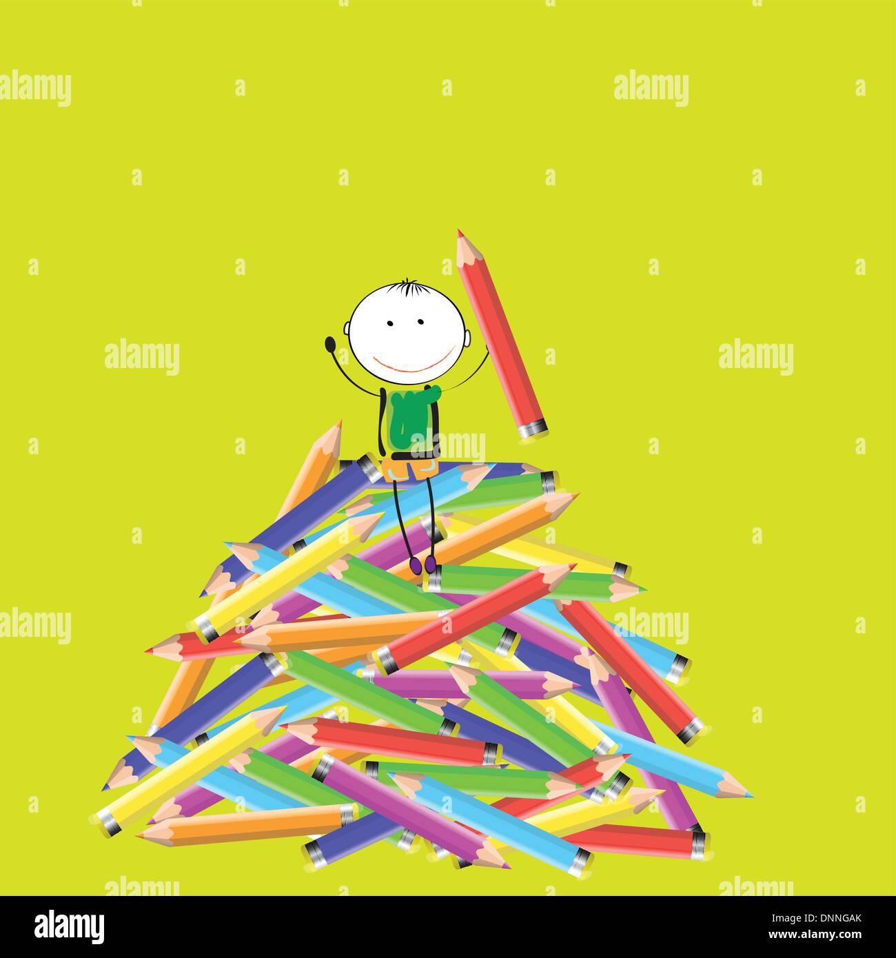Happy kids colorés sur beaucoup de crayon de couleur Photo Stock
