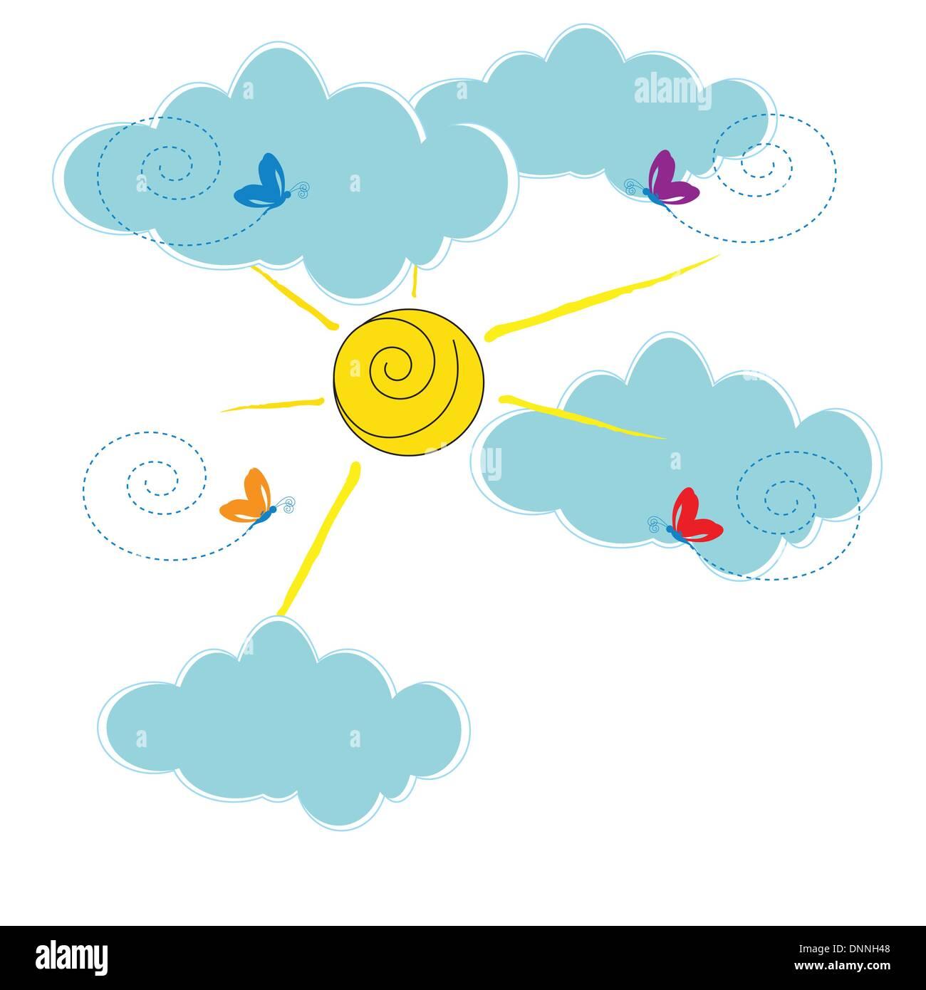 Carte mignon avec les nuages et soleil Photo Stock