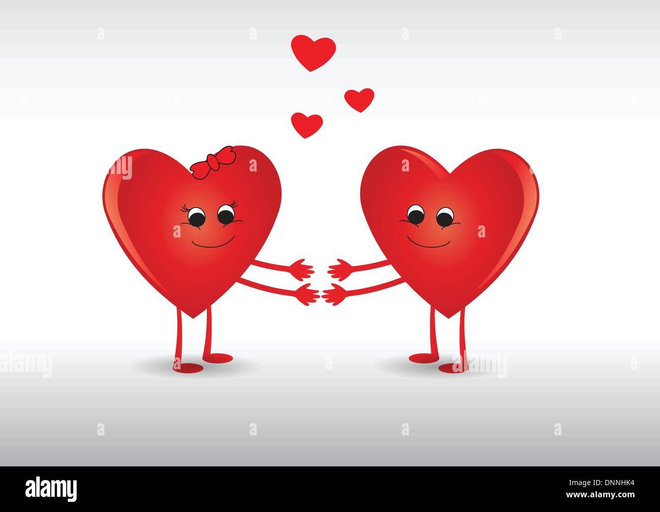 Carte drôle avec des coeurs pour la Saint-Valentin Photo Stock