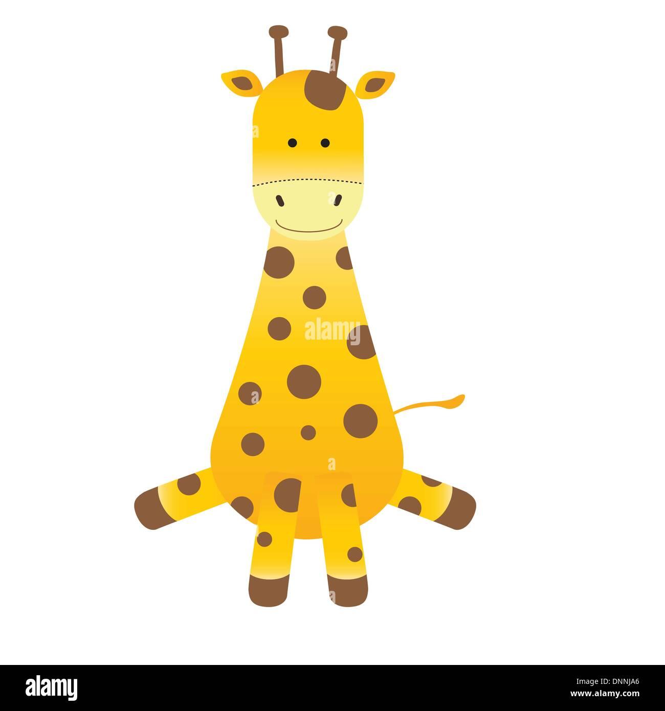 Cartoon girafe sur fond blanc Photo Stock