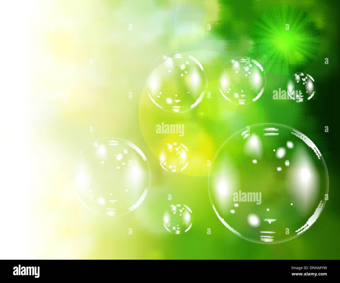 Des bulles de savon vert sur fond naturel. Vector illustration Photo Stock