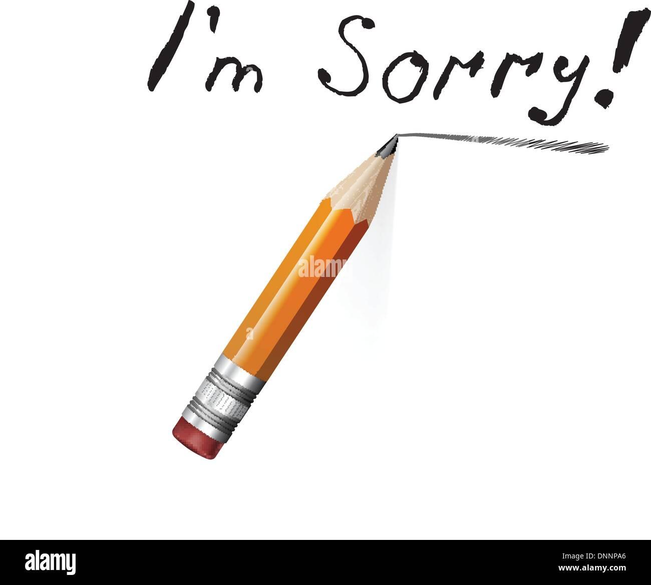 Dire désolé avec un message texte sur papier et crayon. Vector illustration Photo Stock