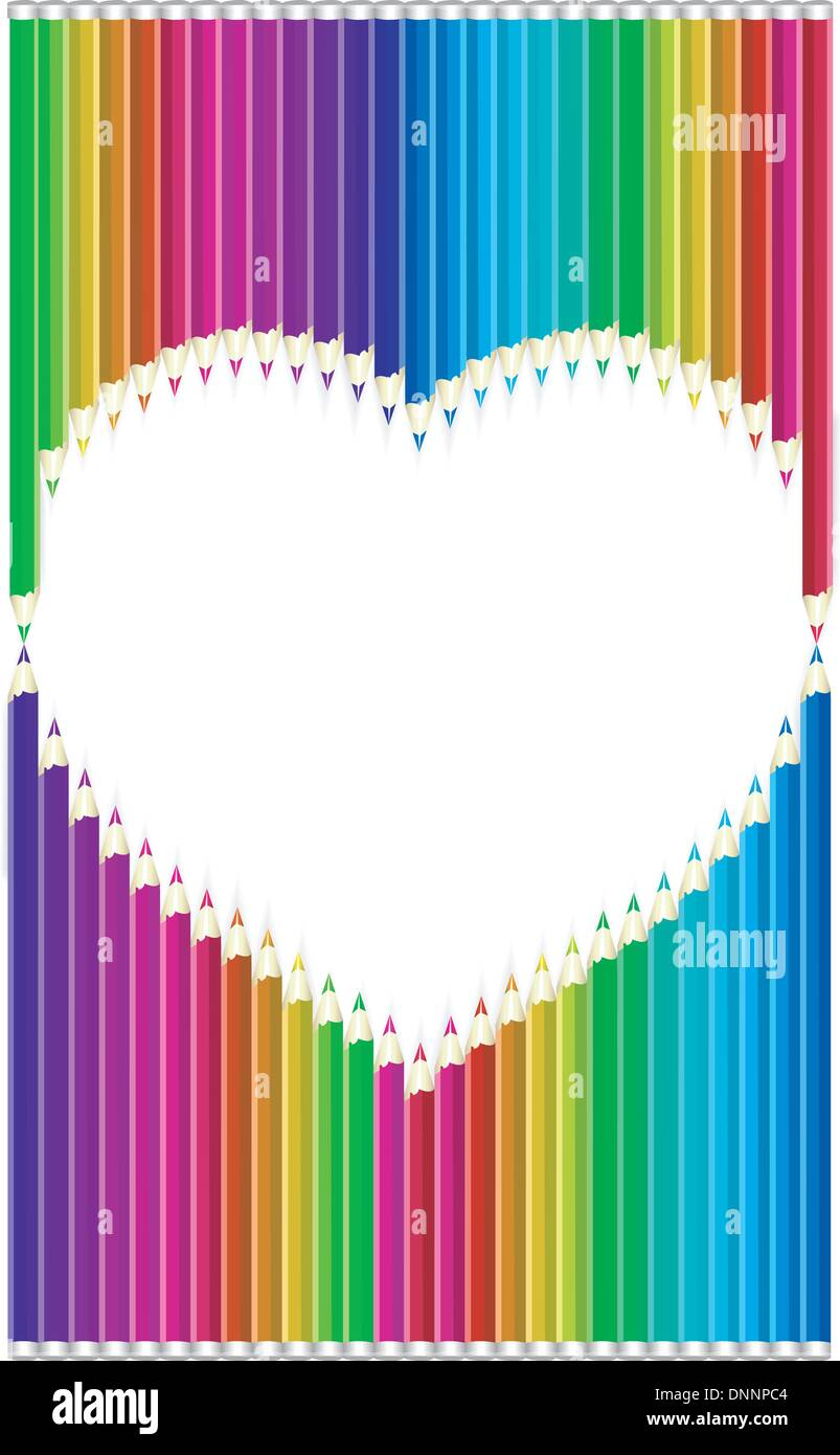 Crayons de couleur en forme de coeur Photo Stock