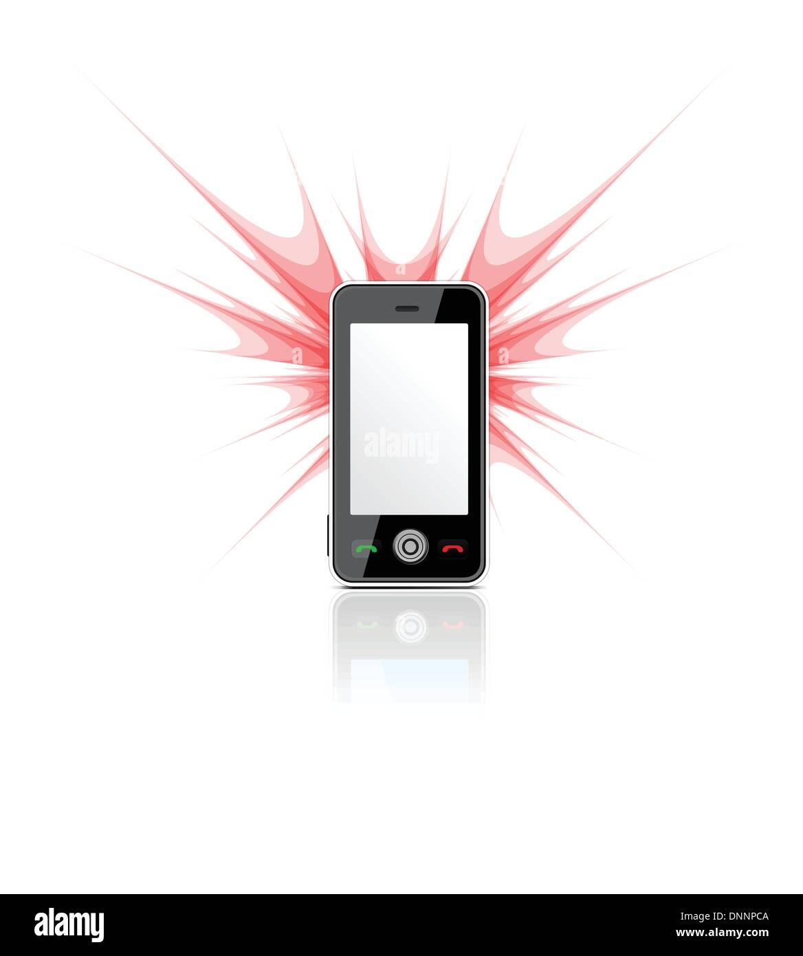 Téléphone mobile blanc utilisé comme un appareil photo avec flash blanc. Vector illustration Photo Stock